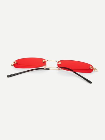 Rimless Oval Sunglasses | ROMWE
