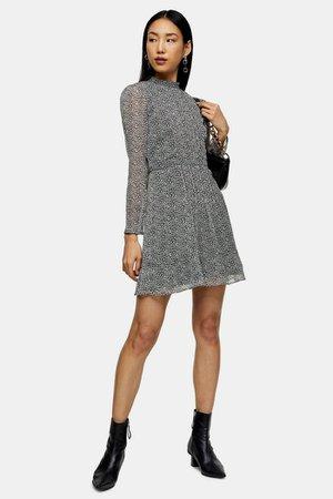 Black and White Leopard Pintuck Mini Dress | Topshop