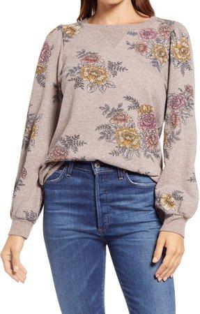 Floral Print Blouson Sleeve Sweatshirt