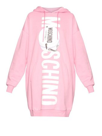 Printed-logo oversized hooded sweater dress | Moschino