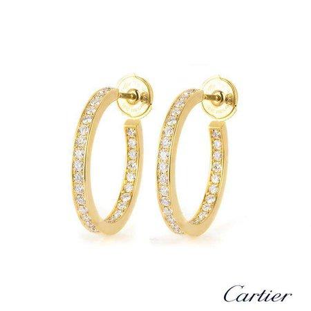 Gold Diamond Cartier Earrings Hoop