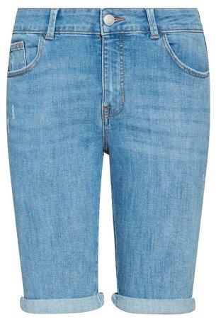 Blue Lightwash Denim Knee Shorts
