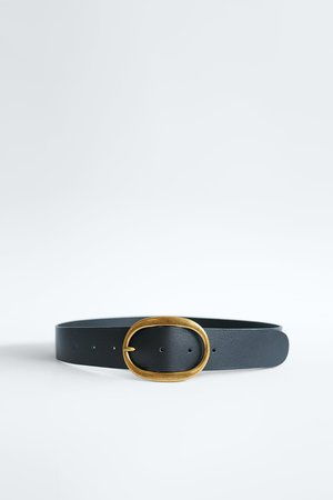 LEATHER BELT WITH OVAL BUCKLE | ZARA United States black