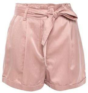 Belted Washed Cotton And Silk-blend Shorts