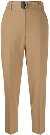 belted tapered-leg trousers