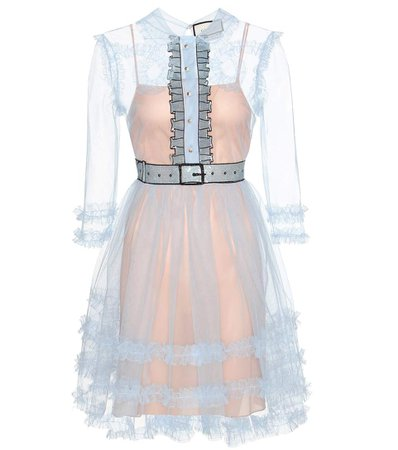 Gucci Embellished Ruffled Tulle Dress In Cielo | ModeSens