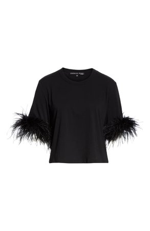 Veronica Beard Wanda Feather Trim Crop Cotton Tee | Nordstrom