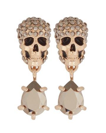 Alexander McQueen Pavé Skull Crystal Drop Earrings   INTERMIX®