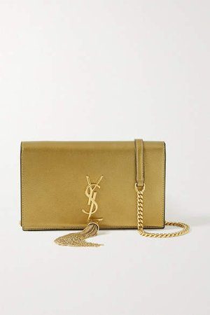 Kate Metallic Textured-leather Shoulder Bag - Gold