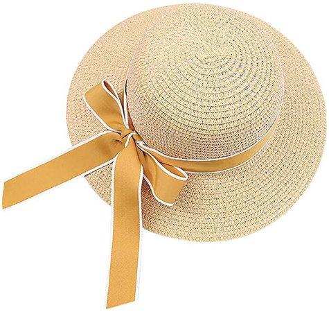 WOJWSKI Women's Wide-Brimmed Straw Hat Beach Sun Hat Summer Big Brim Anti-UV Travel Hat Khaki