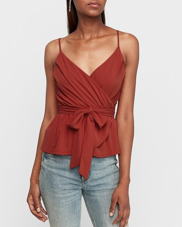 Pleated Wrap Front Peplum Cami