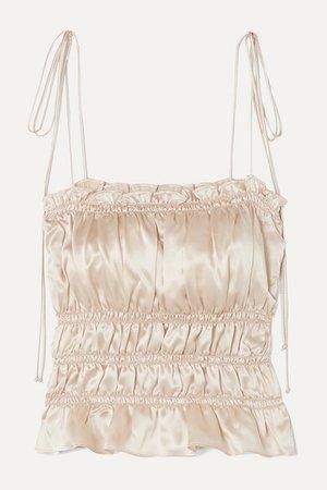 Reformation | Viviana ruffled smocked silk-charmeuse top | NET-A-PORTER.COM