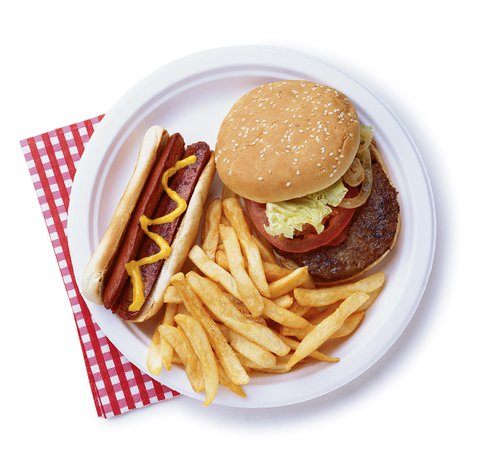 Plate of food | Burger, Fries and Hotdog