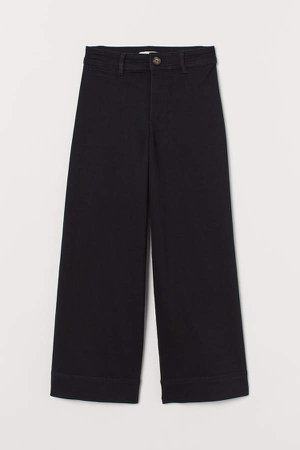 High Waist Twill Pants - Black