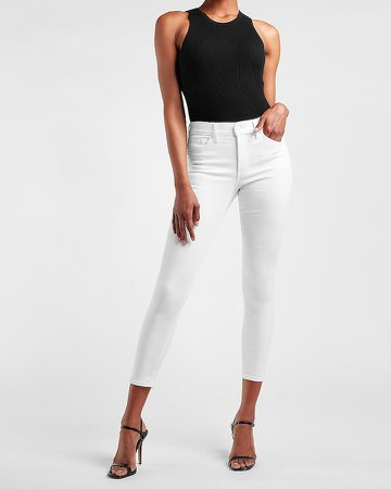 Mid Rise White Knit Skinny Jeans