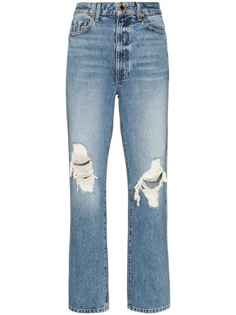 Khaite Abigal Ripped high-waisted Jeans - Farfetch
