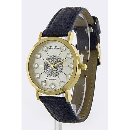 Watches   Shop Women's Navy Crystal Leather Band Watch at Fashiontage   W1598
