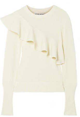 Apiece Apart Sterre Ruffled Cotton Sweater - Ivory - ShopStyle