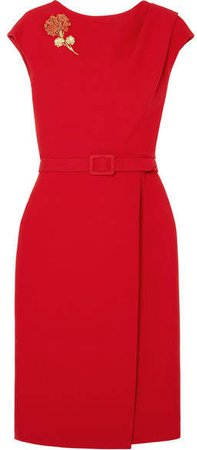 Belted Embellished Wool And Silk-blend Cady Midi Dress - Red