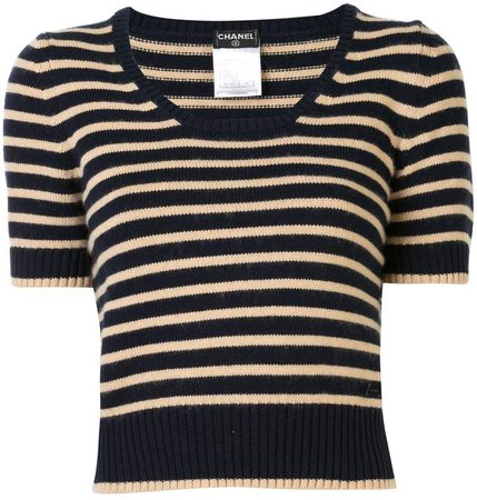 Chanel Pre Owned striped knitted top