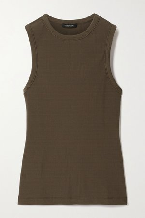 Green Nineties ribbed stretch-jersey tank | GOLDSIGN | NET-A-PORTER