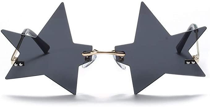 Amazon.com: 2020 Fashion Unique Five-pointed Star Shape Sunglasses Women Vintage Rimless Clear Ocean Lens Eyewear Men Sun Glasses (black): Clothing