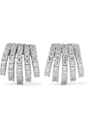 Kenneth Jay Lane   Silver-tone crystal earrings   NET-A-PORTER.COM