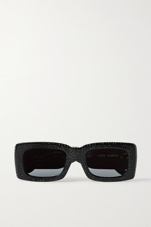 Black + Linda Farrow Stella crystal-embellished square-frame acetate sunglasses | The Attico | NET-A-PORTER