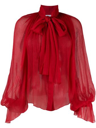 Shop red Atu Body Couture balloon-sleeve chiffon blouse with Express Delivery - Farfetch
