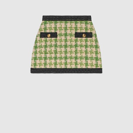 Green and white houndstooth mini skirt