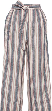 Cropped Belted Striped Linen Wide-leg Pants