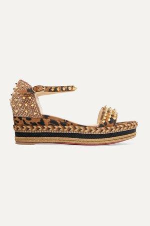 Madmonica 60 Spiked Leopard-print Suede Espadrille Wedge Sandals - Leopard print