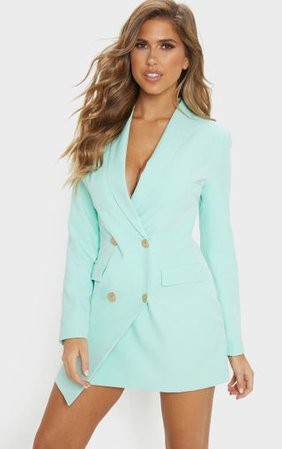 Mint Gold Button Blazer Dress | Dresses | PrettyLittleThing