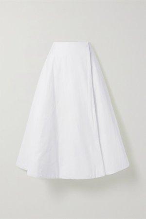 Jaco Padded Cotton Wrap Midi Skirt - White
