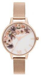 Watercolour Florals Mesh Strap Watch, 34mm