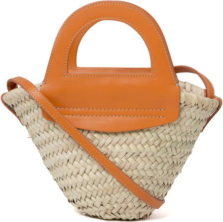 Hereu Cabas Mini Leather-Trimmed Straw Tote