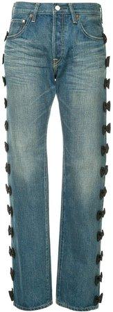 Tu Es Mon Trésor side ribbon Antique jeans