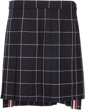 Grid Pleated Wool Mini Skirt