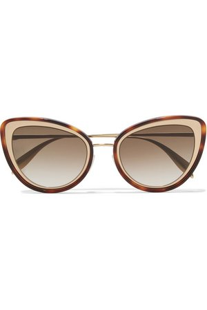 Alexander McQueen | Cat-eye tortoiseshell acetate and gold-tone sunglasses | NET-A-PORTER.COM