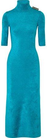 Stretch-velvet Turtleneck Midi Dress - Blue