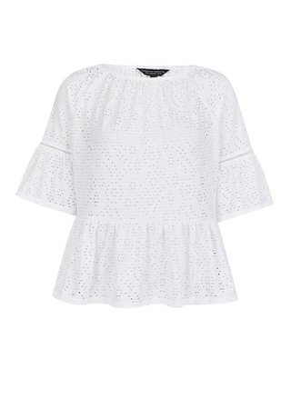 White Cutwork Flute Sleeve Top | Dorothy Perkins