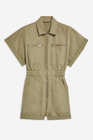 PHOENIX Khaki Utility Denim Romper - Rompers & Jumpsuits - Clothing - Topshop USA