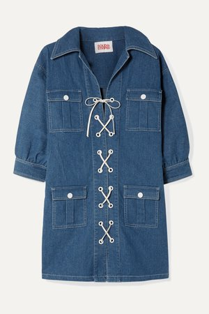 Mid denim Lace-up denim mini dress | Solid & Striped | NET-A-PORTER