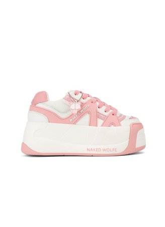 Y2K Chunky Platform Sneakers Pink White Naked Wolfe