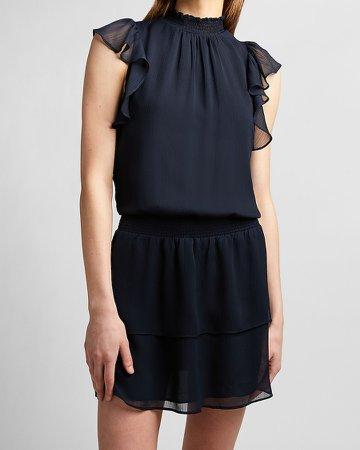 Smocked Waist Flutter Sleeve Dress