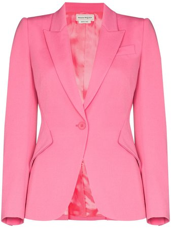 Shop pink Alexander McQueen single-breasted wool blazer with Express Delivery - Farfetch