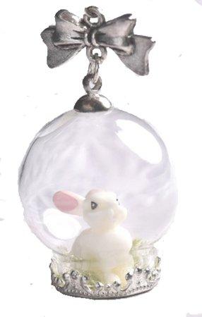 Chatouillezmoi Bunny Snow Globe Necklace
