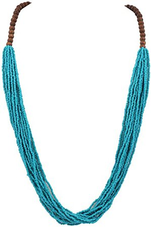 Bocar Long Multiple Row Handmade Beaded Statement Necklace with Gift Box