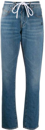 straight-leg contrast print jeans