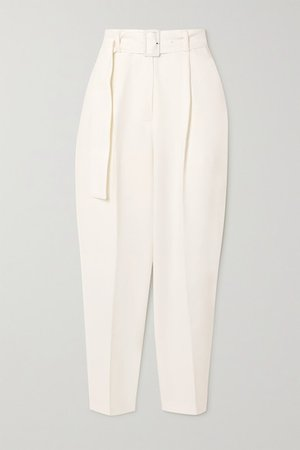 Elvira Belted Woven Pants - White